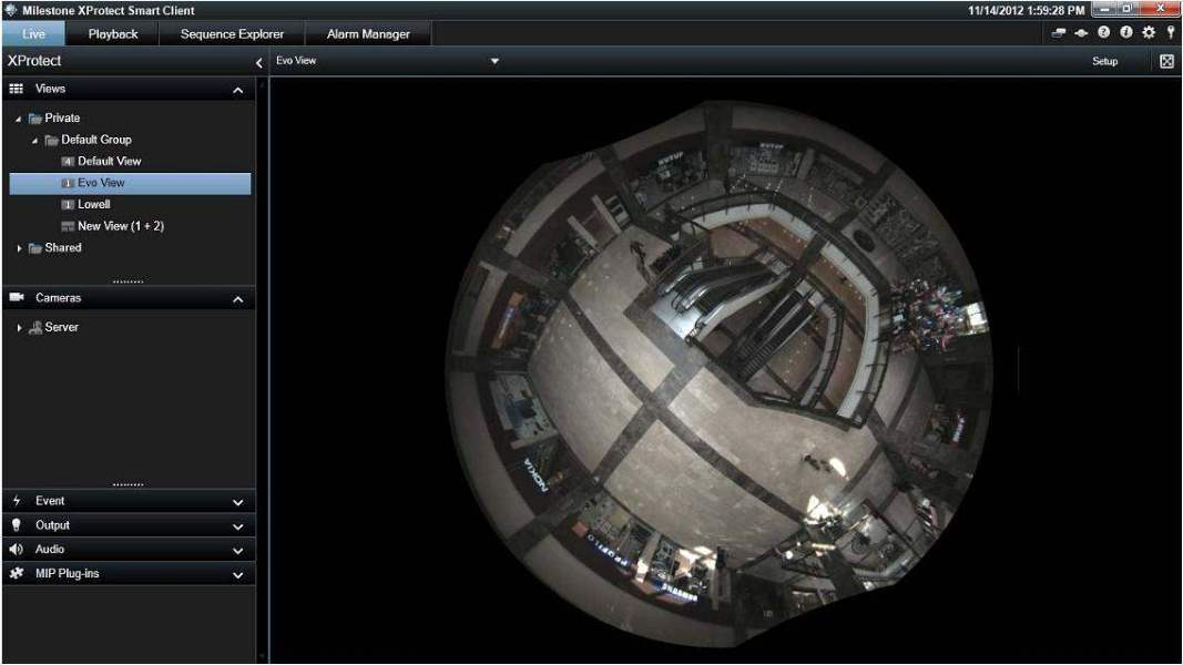 Oncam Grandeye full fish-eye in XProtect Smart Client 7.0