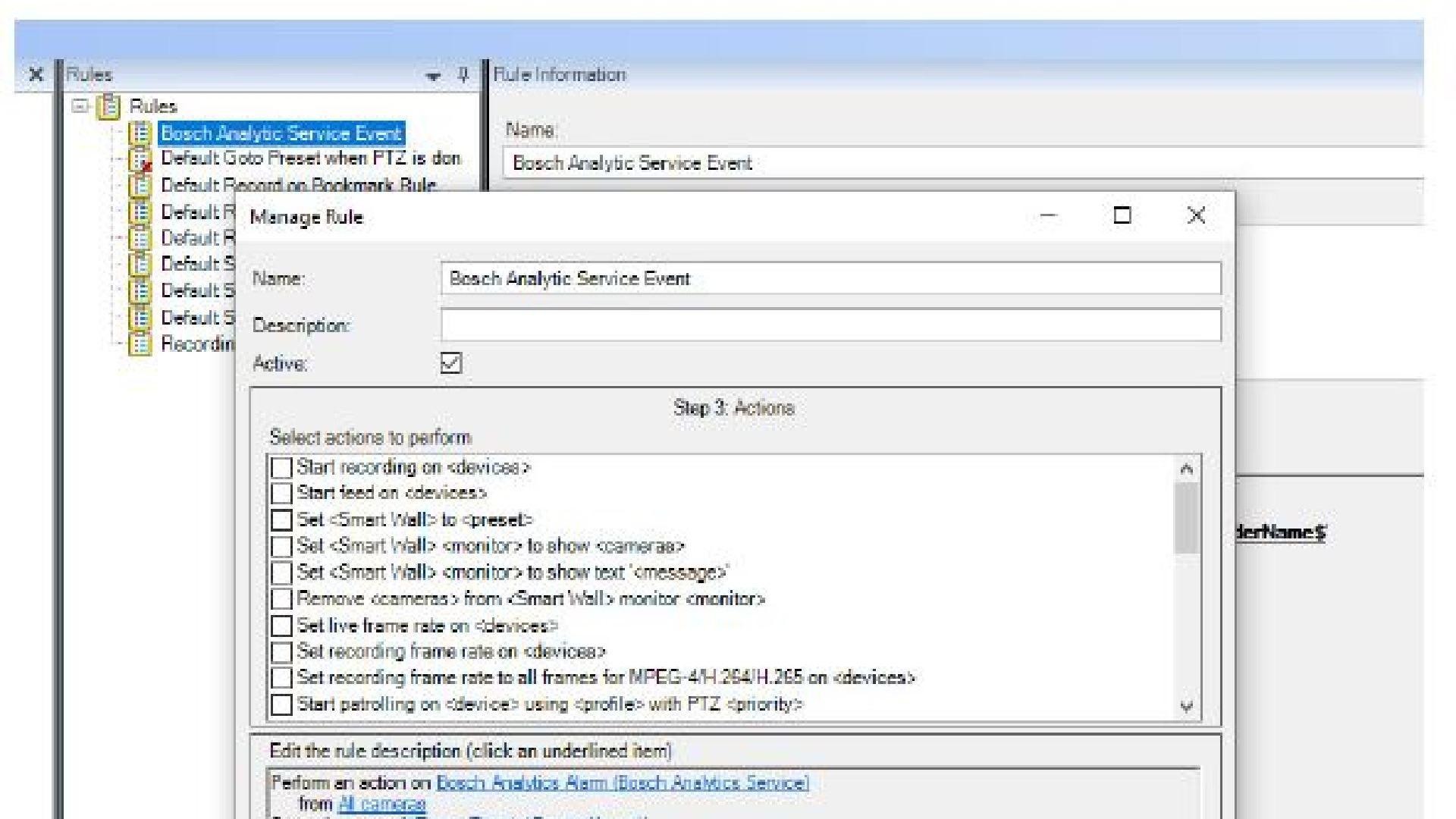 Analytics service plug-in Bosch IP Camera Intelligent Video Analytics
