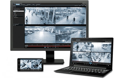 Screens showing recorded videos of security cameras